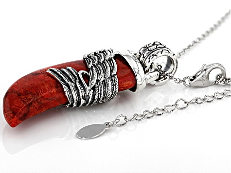 Red Sponge Coral Rhodium Over Silver Eagle Pendant With Chain