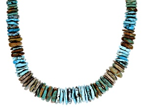 Mixed Graduated Turquoise Rhodium Over Silver Necklace