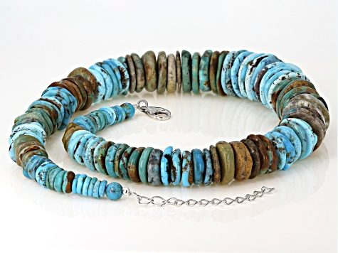 Mix Turquoise Rhodium Over Sterling Silver Graduated Necklace