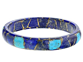 Blended Turquoise And Lapis Lazuli Bangle Bracelet.