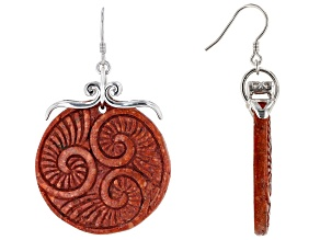 Red Sponge Coral Slice Rhodium Over Silver Earrings