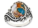 Blended Turquoise And Spiny Oyster Rhodium Over Silver Ring