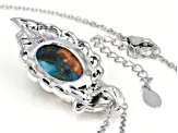 Blended Turquoise W/Spiny Oyster Shell Rhodium Over Silver Pendant W/Chain