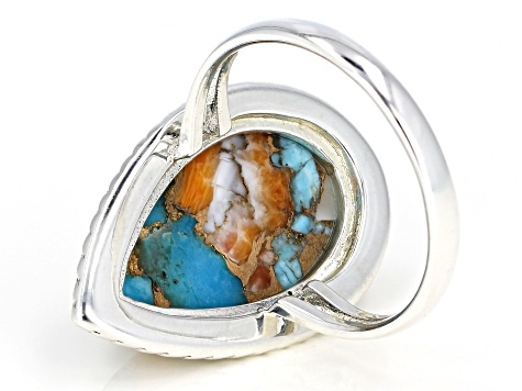 Turquoise Blended With Spiny Oyster Shell Rhodium Over Silver Ring
