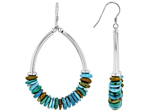 Mixed Color Turquoise Rhodium Over Silver Earrings