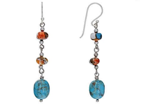 Turquoise And Spiny Oyster Shell Rhodium Over Sterling Silver Earrings