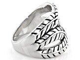 Rhodium Over Sterling Silver Leaf Design Ring