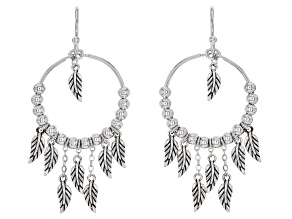 Rhodium Over Sterling Silver Leaf Charm Earrings