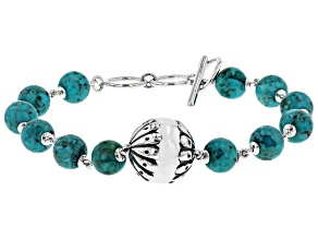Turquoise Rhodium Over Sterling Bead Bracelet