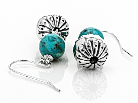 Turquoise Rhodium Over Silver Bead Earrings