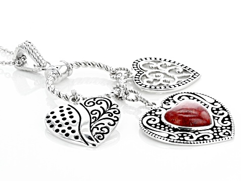 Coral Rhodium Over Sterling Silver Pendant With Chain
