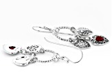 Red Coral Rhodium Over Silver Dangle Earrings