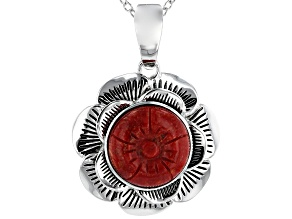 Red Coral Rhodium Over Silver Floral Enhancer With Chain