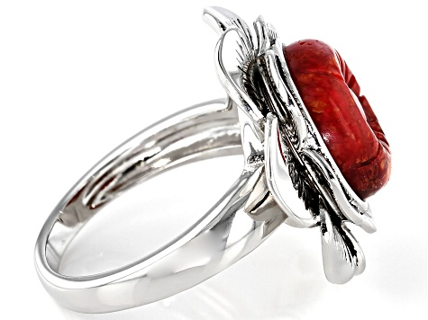 Red Coral Rhodium Over Silver Floral Ring