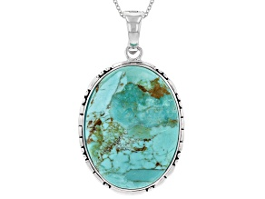 Turquoise Rhodium Over Sterling Silver Enhancer With Chain