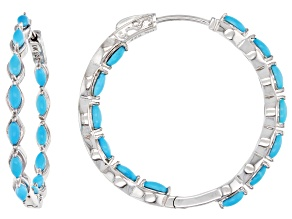 Sleeping Beauty Turquoise Rhodium Over Sterling Silver Hoop Earrings