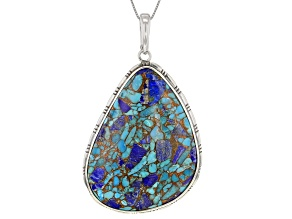 Turquoise Blended With Lapis Lazuli Rhodium Over Silver Pendant With Chain