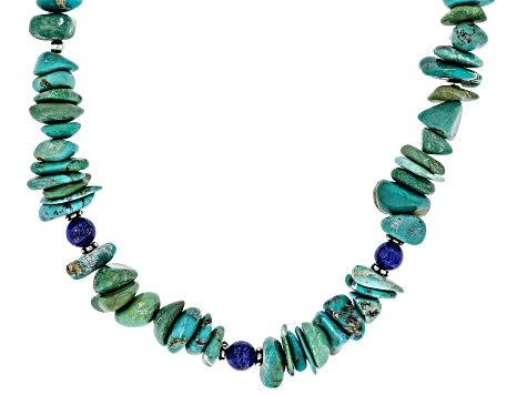 Turquoise With Lapis Lazuli  Rhodium Over Silver Strand Necklace