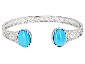 Sleeping Beauty Turquoise Rhodium Over Sterling Silver Filigree Bracelet