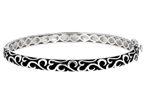 Rhodium Over Silver Filigree Bangle Bracelet