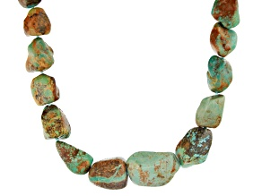 Multi Color Turquoise Nuggets Rhodium Over Silver Necklace