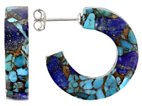 Turquoise Blended With Lapis Lazuli Rhodium Over Sterling Silver Earrings
