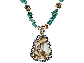 Turquoise Rhodium Over Silver Necklace With Spiny Oyster Shell Enhancer
