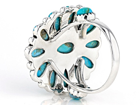 Turquoise Rhodium Over Silver Cluster Ring