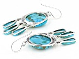 Turquoise Rhodium Over Silver Earrings