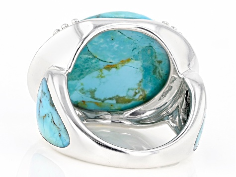 Turquoise Rhodium Over Silver Ring