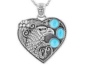 Sleeping Beauty Turquoise Rhodium Over Silver Heart Enhancer With Chain