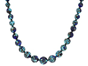 Turquoise Blended With Lapis Lazuli Rhodium Over Silver Bead Necklace