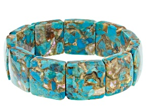 Turquoise Blended With Abalone Shell Stretch Bracelet