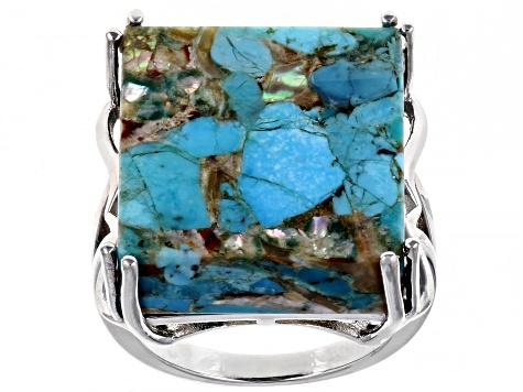 Turquoise Blended With Abalone Shell Rhodium Over Silver Ring