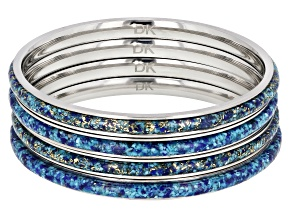 Turquoise Blended With Lapis Lazuli Stainless Steel Bracelet. Set of 4