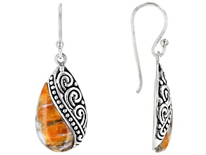 Spiny Oyster Shell Rhodium Over Silver Filigree Dangle Earrings