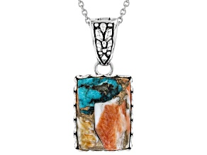 Turquoise Blended With Spiny Oyster Shell Rhodium Over Silver Enhancer With Chain