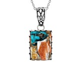 Turquoise Blended With Spiny Oyster Shell Rhodium Over Silver Pendant With Chain