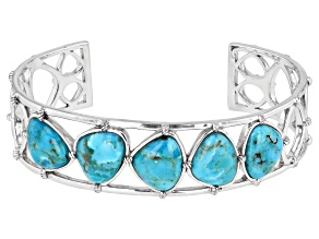 Turquoise Rhodium Over Silver Cuff Bracelet