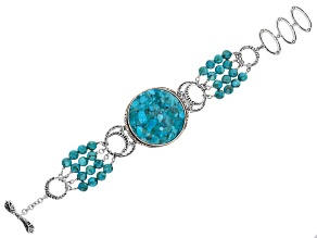 Turquoise Rhodium Over Silver Multi Strand Bead Bracelet