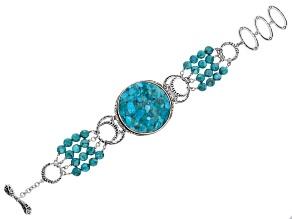 Turquoise Rhodium Over Silver Multi Strand Bead Bracelet