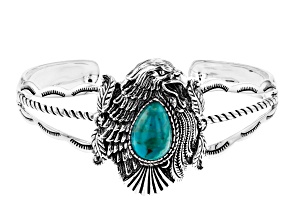 Turquoise Rhodium Over Sterling Silver Eagle Bracelet