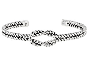 Sterling Silver Knotted Rope Cuff Bracelet