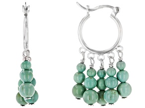 Green Turquoise Rhodium Over Sterling Silver Earrings