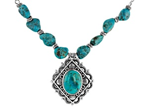 Southwest Style By JTV™ Custom Shape Turquoise Rhodium Over Silver Necklace With Pendant