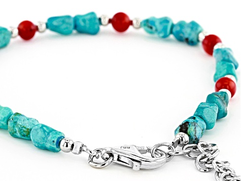 Red Coral And Turquoise Rhodium Over Silver Bead Bracelet