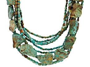Turquoise And Matrix Rhodium Over Silver Multi Strand Necklace.