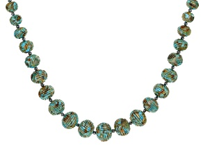 Turquoise Graduated Bead Rhodium Over Silver Strand Necklace