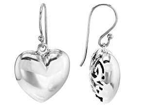 Heart Shape Rhodium Over Sterling Silver Earrings