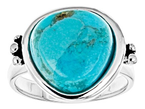 Turquoise Rhodium Over Silver Solitaire Ring